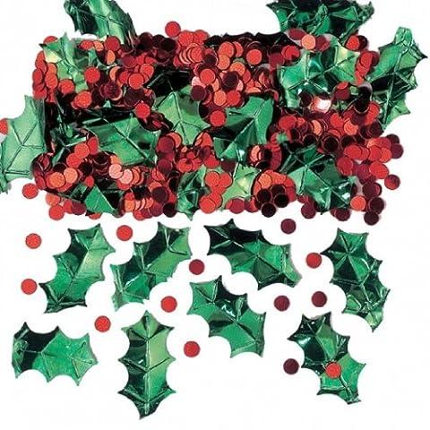 Weihnachten Holly mit Beeren Metallic Konfetti geprägt 14g