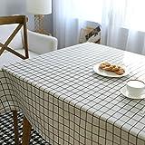 Qiuqiu cotone percalle lavabile rettangolo geometrico tovaglia Everyday Basic per tavolo da pranzo, 140cm x 180cm, White, 140x220cm