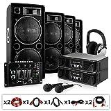 DJ PA Beschallungs-Set Bass First 4x Auna 1000W Boxen - 2x PA600 Amp 1600W - Mixer Mikro Kabelset