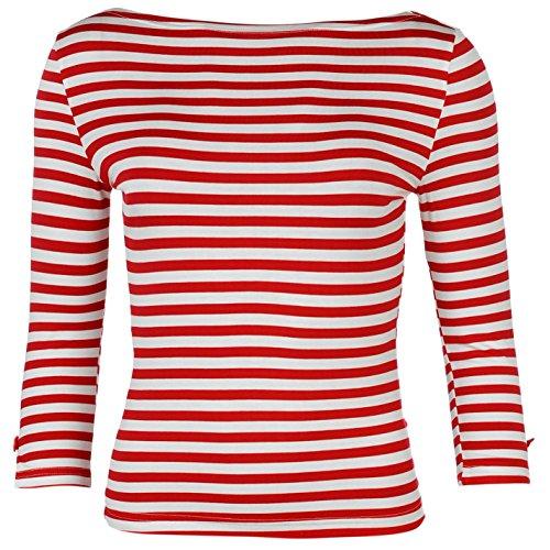 Banned Donna Sophie Top maglietta a a maniche lunghe Scollo Rotondo Donna Tempo Libero vestiti Bianco / Rosso Small