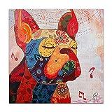 World Art, TWAS368X1, Bouledogue Francese, Dipinti su telaio estetico, 80 x 80 x 3.5 Cm