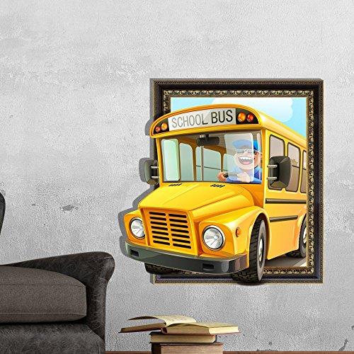 LXPAGTZ Kreative 3D ( niedlichen Schulbus ) Wandaufkleber Schlafzimmer Wohnzimmer FernsehsofahintergrundbildHD dreidimensionalen Selbstklebeetiketten Grüne Pigment HD-Aufkleber (Niedlichen Tier Halloween Bilder)
