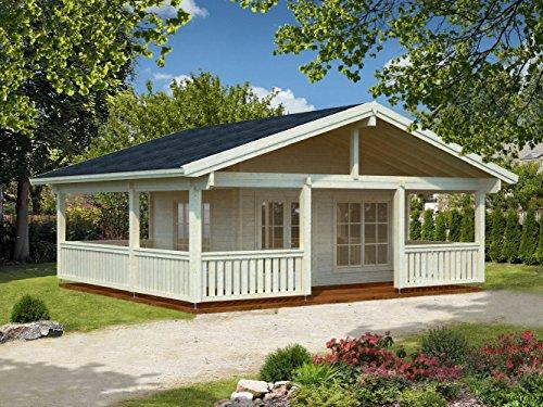 Wochenendhaus Prunus P17b inkl. Fußboden, naturbelassen - 70 mm Blockbohlenhaus, Nutzfläche: 18,80 m² mit 28,80 m² Terrasse, Satteldach