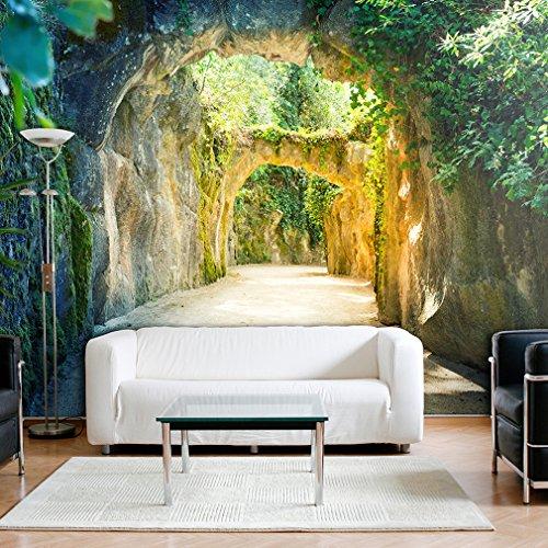 Fototapete Wald 3D 300x210 cm XXL | VLIES TAPETE - Moderne Wanddeko - Fototapete 3D Illusion - Riesen Wandbild - Design Tapete - Schlafzimmer, Wohnzimmer, Kinderzimmer geeignet | Fototapeten Wandtapete FOB0065a62XL
