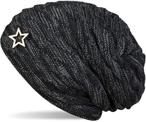 styleBREAKER warme Feinstrick Beanie Mütze mit Wellen Muster und Schmuck Stern, sehr weiches Fleece Innenfutter, Unisex 04024099, Farbe:Schwarz-Grau