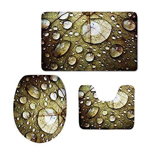 Badteppich Sets 3Stück Rustikal Floral rutschfeste Soft waschbar Rugs für Badezimmer Home Dekoration floral green6 Badezimmer-teppiche-sets, Tan