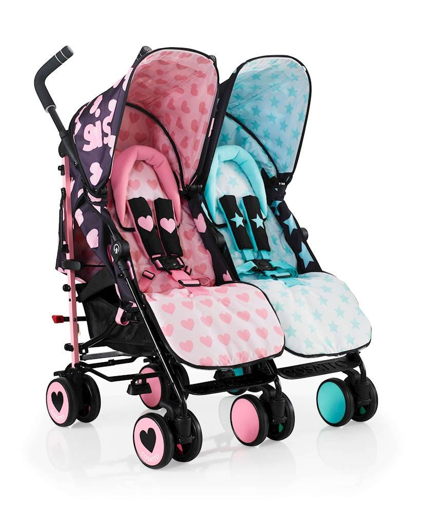 Cosatto Supa Dupa Double/Twin Stroller, Suitable from Birth, Sis and Bro 5 Cosatto Supa dupa is a compact from-birth double stroller. it's lightweight but sturdy. the stowaway auto stand makes it great for home or car storage. With upf50+ extendable hoods, rain cover and fleece-lined foot muffs, supa dupa in charge, rain or shine.  the handy compact fold means you can hop on and off transport. Each seat has its own recline - so whatever their age, whatever their stage, whatever their mood that day, they're happy. 5