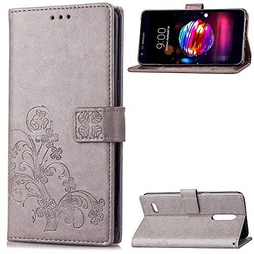 LAGUI Hülle Geeignet für LG K8 2018 / LG K9, Schönes Muster Brieftasche Handyhülle Mit Kartenfächern, und Fach und Magnetische Verschluss, Anti-Scratch, stoßfeste. Grau -