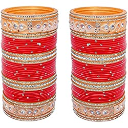 Lucky Jewellery Red Stone Choora Bangles Set for Women