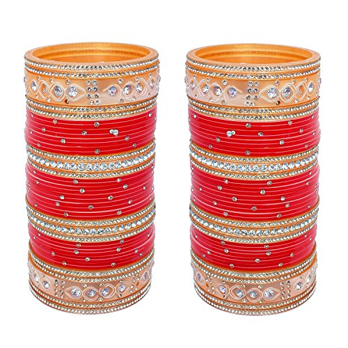Lucky Jewellery Red Stone Bridal Choora Bangle Set For Women