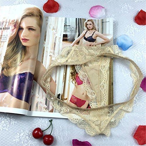 Jiayiqi Sortierte Farben Gummizug In Der Taille Spitze Trim Panty Für Frauen Mädchen Khaki