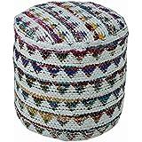"Homescapes Puff ""Chindi""blando redondo, estilo oriental, blanco 45 diámetro x 40 cm altura"