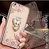 KC Luxury Heart Ring Holder Stand Case Premium Clear Gel Soft TPU Transparent Back Cover for Vivo V5 Plus - Rose Gold + Pink