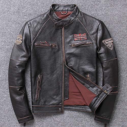 Giacca da Moto Harley Vera Pelle Retro Motocicletta Giacca da Viaggio Impermeabile Vento Motocicletta Abbigliamento da Corsa Quattro Stagioni Uomo,C-XXXXL