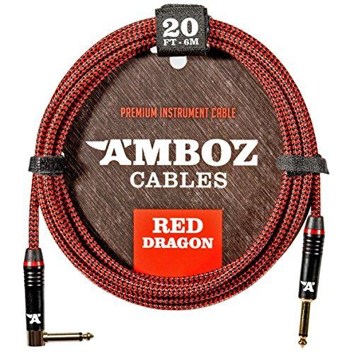Red Dragon Instrumentenkabel 6m rot. Geräuschloses Gitarrenkabel für die Elektrische und Bassgitarre - Klinkenstecker 6.35 mm mono (TS) Gerade auf Gewinkelt -