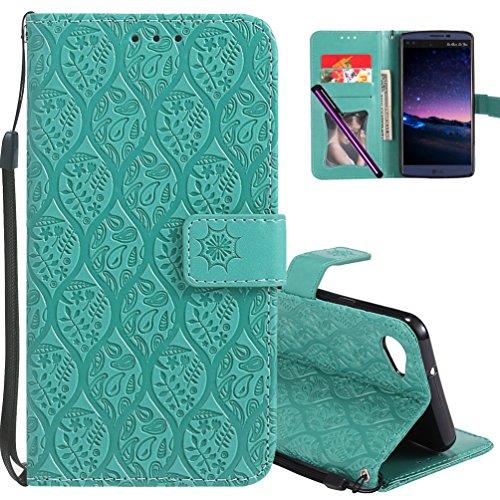 LG Q6Leder Tasche cotdinforca Premium PU Flip Book Style Ständer geprägt Design magnetische Schutzhülle mit Kartenschlitzen für LG Q6/LG Q6Plus/LG G6Mini, A Rattan 3 - Haut Magnetische Geld Clip