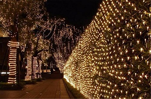 WOJ Christmas rete di luci, Bianco caldo LED,Fairy Net Lights Festival Decorations Mesh Lights High Brightness, Outdoor Indoor Waterproof, dimensione Selectable,Connection , 8*10