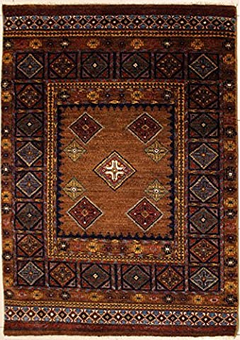 127x188 Ziegler Chobi Design Area Rug with Wool Pile | 100% Original Hand-Knotted in Brown,Beige,Blue colors | a 122 x 183 Rectangular Double Knot Chobi Ziegler Rug made with Vegetable dyes