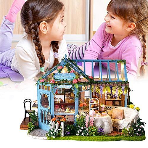 hinffinity Dollhouse Miniature Mit Möbeln DIY Dollhouse Kit DIY Cottage Englischen Retro-Stil Rose Garden House Für Kinder Mädchen Romantischen Valentinstag Neujahr -