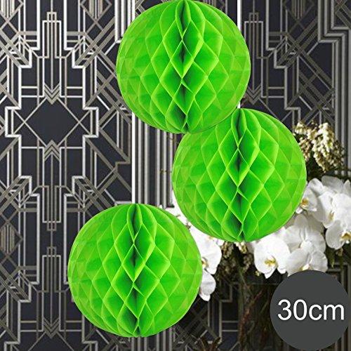 EinsSein 3 x Honeycomb WABENBÄLLE Supreme hellgrün DM 30cm Hochzeit Wedding Wabenball Dekoration Lampion (Pappteller Hellgrün)