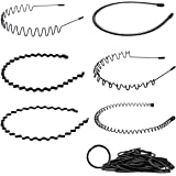 MELLIEX 6 Stks Spring Wave Hoofdband, Zwart Elastische Haar Hoop Unisex Metalen Haarband Golvende Kam Haarbanden Accessoires