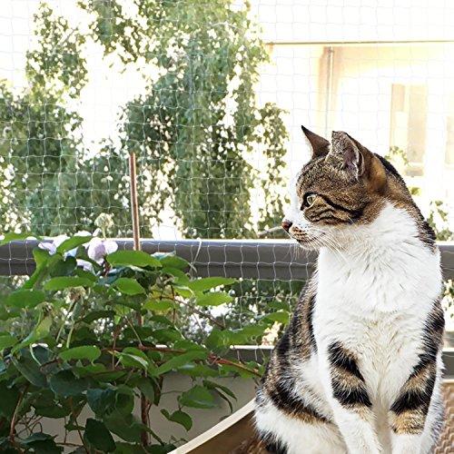 Bella & Balu Katzennetz inkl. Haken, Dübel, Rundumseil und Anleitung zur Befestigung – Transparentes Schutznetz für Katzen zur Absicherung von Balkon, Terrasse, Fenster und Türen ( transparent| 4 x 3 m) - 4