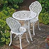 Lazy Susan - Mesita IVY con 2 sillas bistro IVY a juego - Conjunto de jardín en fundición de aluminio, Blanco