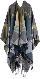 1f0150d1f55 Mochoose Poncho Cape Tricot Châle Plaid Écharpe Couverture Wrap Tartan  Chaude Frange Hiver Femme