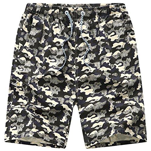 Sronjn Herren Camouflage Badeshorts Schnell Trockend Boardshorts Casual Strand Hosen White