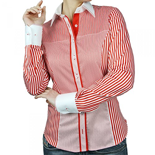 chemise col blanc patchwork rouge Rouge