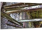 Querbalken - Wandbild Stahlwerk Maxhütte, exklusiver Druck auf Leinwand, Alu-Dibond oder Acrylglas inkl. kostenloser Wandhalterung - Moderne Wandbilder Bilder Glas Bild Kunst Fotografie Kunstdruck Deko für Wohnzimmer, Schlafzimmer und Büro