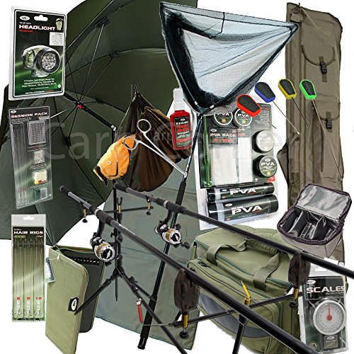 Deluxe-Complete-Full-Carp-Fishing-Set-up-With-2x-Rods-Reels-Alarms-Tackle-Bait