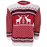 Herren Strickpullover / Pullover mit weihnachtlichem Rentier-Motiv (XX-Large) (Rot/Weiß)