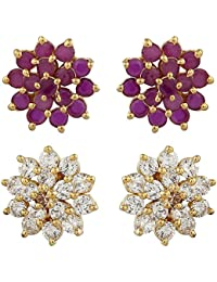 Sapna FX American Diamond CZ Fashion Earrings Ruby and White Combo for Women and Girls - 9122 9123 Combo