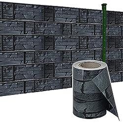 SAILUN® 65m x 19cm Sichtschutzstreifen mit 30 x Befestigungsclipse Sichtschutz Streifen Doppelstabmattenzaun PVC Blickdicht für Einzel- und Doppelstabmatten geeignet (65m x 19cm, Schiefer)
