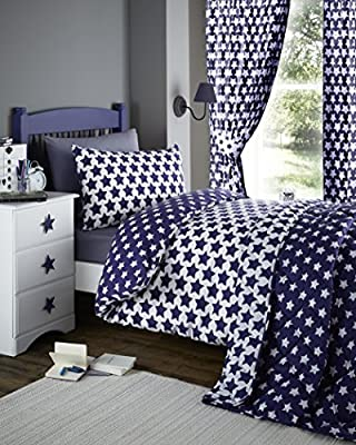 Etoile Navy Blue & White Stars Print Reversible Single Duvet Cover Bedding Bed Set produced by Etoile - quick delivery from UK.