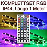 SET IP44 LED Streifen RGB mehrfarbig + Trafo & Controller PCBs 1 Meter Infrarot 44 Tasten