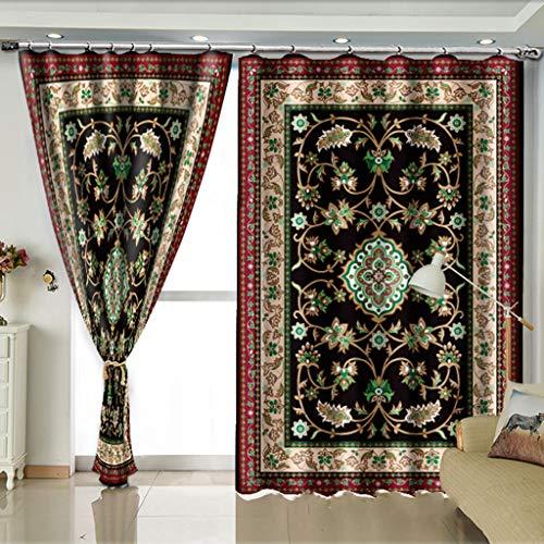 Tende stampate in 3d 2 pannelli per soggiorno camera da letto decor occhiello/anello pannelli finestra superiore - stile europeo orientale