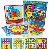 Learning Minds Lernen-Verstand-Farben-Match-Knopf-Kunst-Puzzlespiel-Set - pädagogisches Mosaik-Bild Pegboard Spielzeug