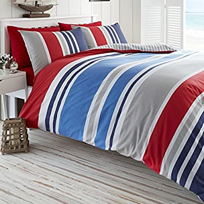 Laguna Duvet Quilt Cover Nautical Stripes Bedding Set - Red Navy Blue White produced by De Cama - quick delivery from UK.
