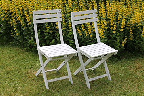 2-er Set Klappstühle Stuh Klappstuhl Sessel Balkon Bistrostühle - Klappstühle Weiß