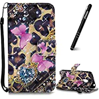 Moto G4 Play Case, Motorola Moto G4 Play Leather Case, Slynmax 3D Printing Pink Butterfly Design Flip Folio PU Leather Wallet Case Inner Soft TPU Cover with Stand Function Hand Strap Card Holders Magnetic Closure Ultra Thin Book Style Shock Resistant Prot