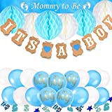 Babyparty Deko für Mädchen und Junge, TopDeko Baby Dusche Dekoration Baby Dusche Party mit 'IT'S A BOY' 'IT'S A GIRL' Girlande, 6pcs Wabenbälle, 1pcs Mummy To Be Schärpe, 15g Konfetti Babyparty, 25pcs Luftballons für Baby Shower - Blau und Rosa (Blau)