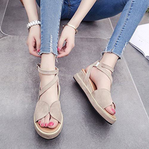 RUGAI-UE Spesso sandali estivi fibbia comode scarpe piatte Apricot