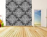 Selbstklebende Fototapete - Barockes Muster - schwarz Weiss - 200x200 cm - Wandtapete – Poster – Dekoration – Wandbild – Wandposter - Bild – Wandbilder - Wanddeko
