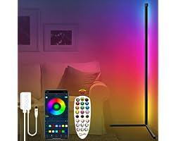 Fortand Lampadaire LED Salon, RGB Lampadaire sur Pied D'angle Lampe D'intérieur Éclairage Décoratif Lampe Debout Luminosité d