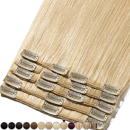 Clip In Extensions Haarverlängerung für komplette Remy Echthaar Glatt 100g - 45cm #613 Hellblond