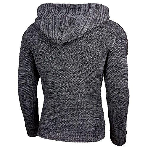 Rusty Neal Top Herren Winter Kapuzenpullover Pulli Sweatshirt Jacke RN-13277 Neu 13290-1 Anthrazit / Schwarz