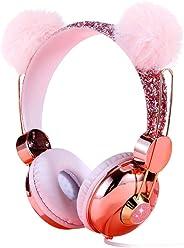 Kids Headphones, Wired Over Ear 85dB Volume Limiting Headphone for Kids Girls Children Teens School, Pink Plush Bear Ear Spar