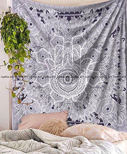 rie Schwarz Weiß Hamsa Hand Sketched Viel Glück Mandala indische Baumwolle Wandbehang von raajsee, Hippie Bohemian Wohnheim Dekor, Boho Hippie Queen Tagesdecke Meditation Yoga Überwurf ()